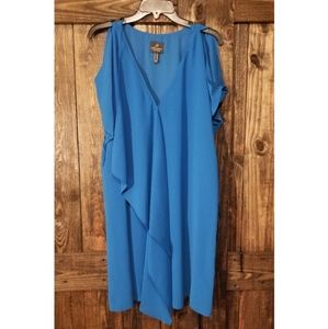 Adrianna papell blue dress with cold shoulder